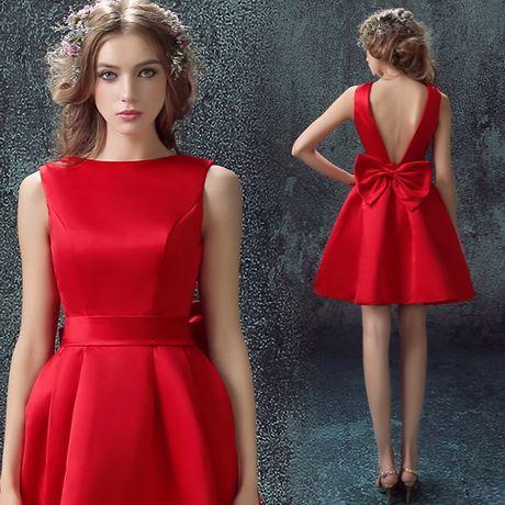 vestidos rojos de seda cortos Más