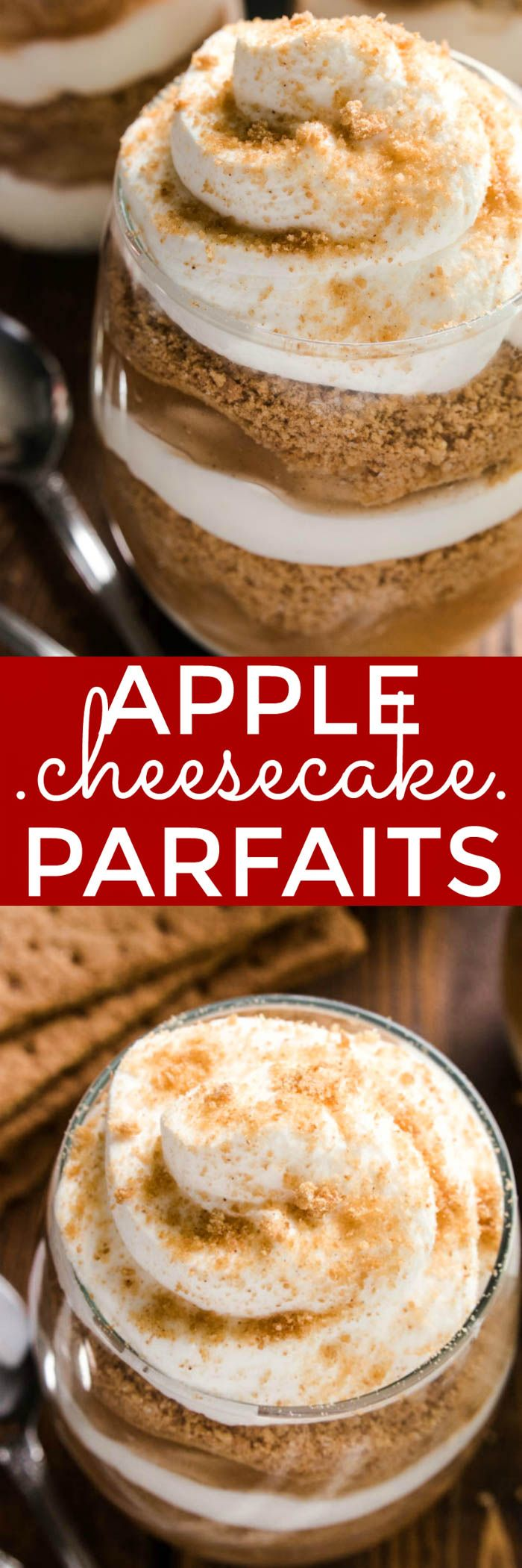 These Apple Cheesecake Parfaits combine two holiday favorites in one delicious no-bake dessert! Made with just five simple ingredients, these parfaits have all the flavors of apple pie, combined with rich, creamy cheesecake and homemade whipped cream. Best of all, they come together in no time at all. Just 10 minutes is all you need for a rich, decadent dessert that's worthy of any holiday celebration. Why choose between cheesecake and pie when you can have both? These Apple Cheesecake…