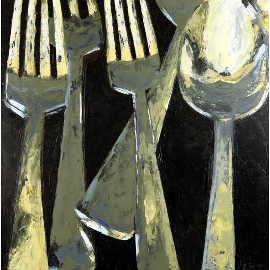 OMG, love artist Kelley Somer's paintings of silverware and dishware. Simple, lovely.