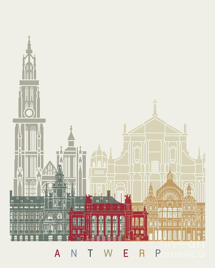 Antwerp Skyline Poster By Pablo Romero In 2020 Antwerp Illustration Wall Art City Illustration
