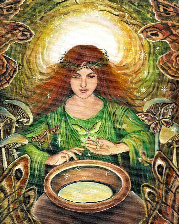 "Luna Magick"" A print of an original acrylic painting by Emily Balivet, 2009."