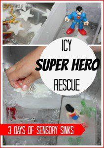 Icy Super Hero Rescue Sensory Sink Activity