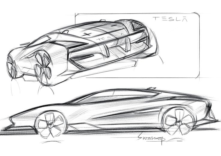 Tesla sketches by Swaroop Roy
