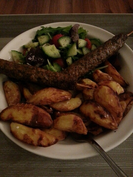 Lamb kebabs, chips and salad all free on slimming world