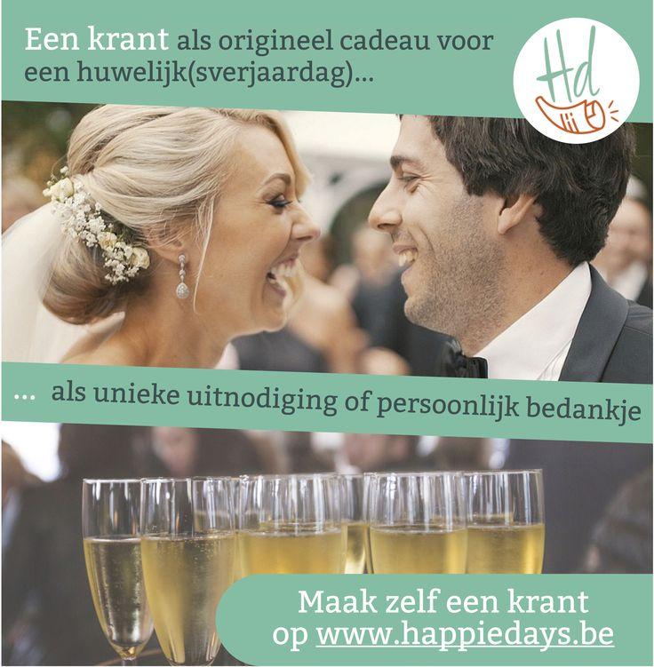 Een krant als origineel cadeau voor een huwelijk of huwelijksverjaardag. Ook ideaal als unieke uitnodiging, tafeldecoratie of een persoonlijk bedankje. Een huwelijkskrant kan je eenvoudig maken met Happiedays.