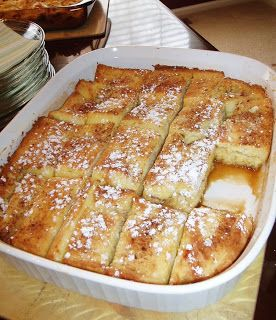 Rach's Blog: French Toast Bake  Ingredient Checklist 1/2 cup melted butter (1 stick) 1 cup brown sugar 1 loaf Texas toast 4 eggs 1 1/2 cup milk 1 teaspoon vanilla Powdered sugar for sprinkling