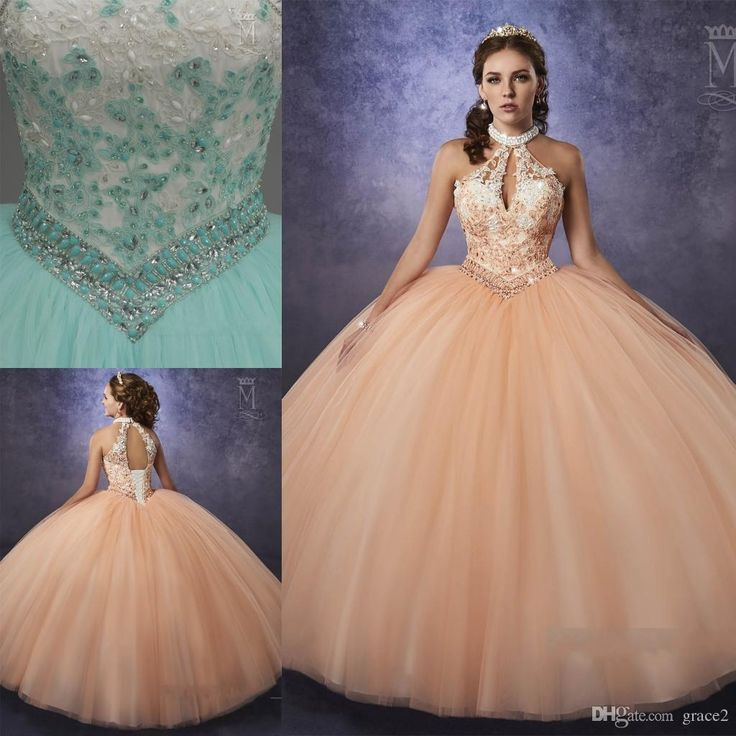 Mint Quinceanera Dresses 2017 Mary's with Beaded Halter Neck And Basque Waistline Appliques Peach Tulle Vestidos De Quinceanera Keyhole Back Vestidos De 15 Anos Quinceanera Dresses 2017 2 Piece Quinceanera Dresses Online with $253.72/Piece on Grace2's Store | DHgate.com