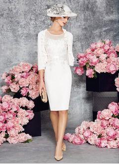 Etui-Linie U-Ausschnitt Knielang Chiffon Tüll Kleid für die Brautmutter mit Applikationen Spitze (0085098171)
