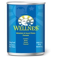 Wellness - Wellness Whitefish & Sweet Potato Canned Dog Food. Wellness Whitefish & Sweet Potato Recipe is a tasty, alternative protein source, good for food sensitive dogs. It helps balance Omega 6 acids, for a dog's healthy skin and coat and affects the development of the nervous system. The Sweet Potatoes provide your dog with an excellent source of vitamins, minerals and beta-carotene. A blend of fruits and vegetables for antioxidant support.
