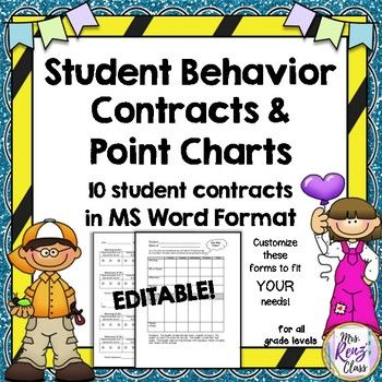 Are you in need of a quick behavior contract that will help your student focus to improve behavior that as disruptive to learning?  This set is simple and customizable for your situation and helps students focus on their responsibility and being accountable. In this set are 10 different individual student behavior contracts I‰۪ve used with students who have been in need of behavior change and intervention.   Click PREVIEW to see the contacts.  Use the structure and take it from here! ...