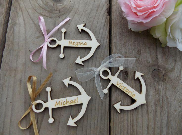 Hochzeitsdeko - 5 Platzkarten Anker - Hochzeit Gastgeschenk Holz - ein Designerstück von SignCity bei DaWanda