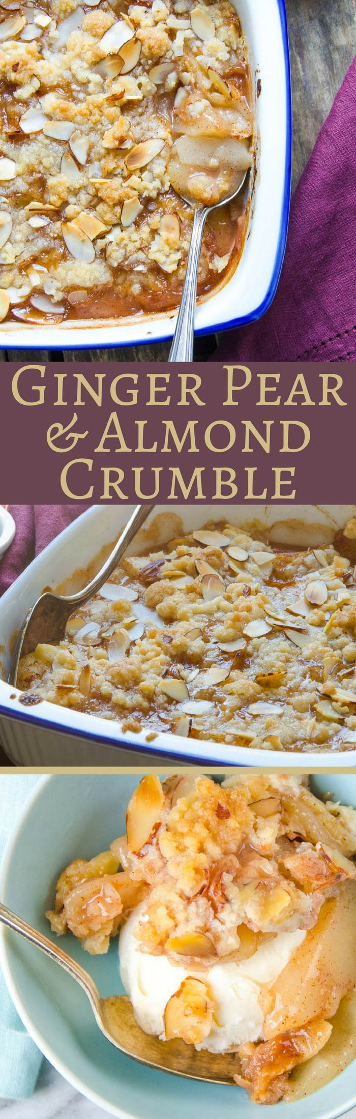 Need a good fall dessert recipe? Ginger Pear and Almond Crumble is great for cooler weather, with a spicy zing from crystalized ginger. Good w/ ice cream.