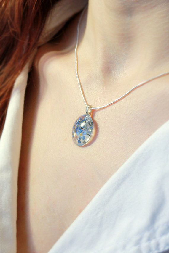fiore blu ciondolo collana terrario gioielli ragazza di SweetLine