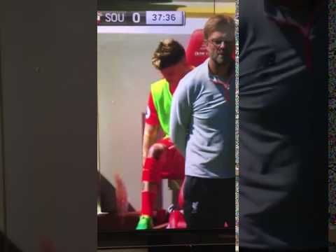 Liverpool benchwarmer Alberto Moreno was clearly very bored during Sunday's drab first half against Southampton that he was forced to entertain himself on the sidelines.