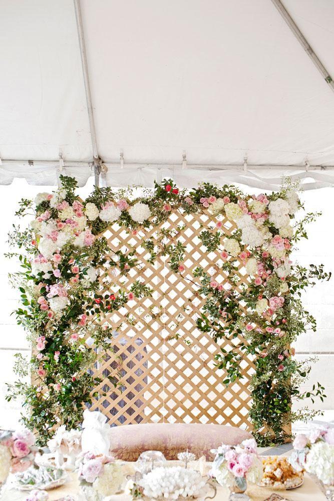 Dreamy floral lattice backdrop