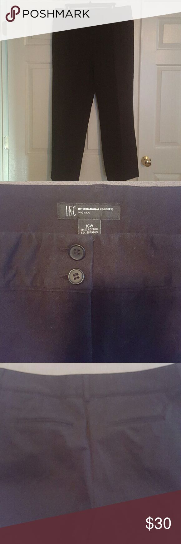 Macy's INC Dress Pants Black in color, a heavier weigh for the colder months ahead. Heavy waistband and front side pockets and we'll as pockets on the backside. No fraying or visible wear. Another item I never wore. INC International Concepts Pants Trousers