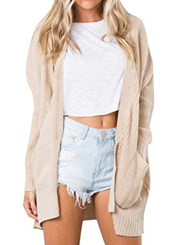New Nilfe Women Casual Solid Color Knitted Cardigan Long Sleeve Open Front  Coat with Pocket online.   16.99  topstorehits 57f71078e