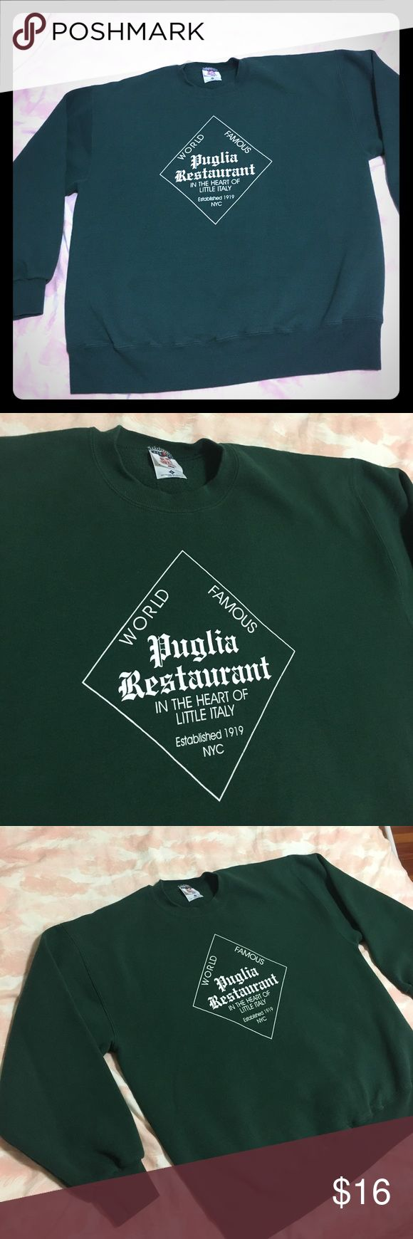 "In the Heart 💚of Little Italy 🇮🇹 New York City Amazing Puglia Restaurant ""In the Heart of Little Italy"" Crew Neck . Tag reads Large this is on the medium side 100% . Clean & beautiful , vintage New York City 🌃 Lovely warm green 💚 Vintage Sweaters Crew & Scoop Necks"