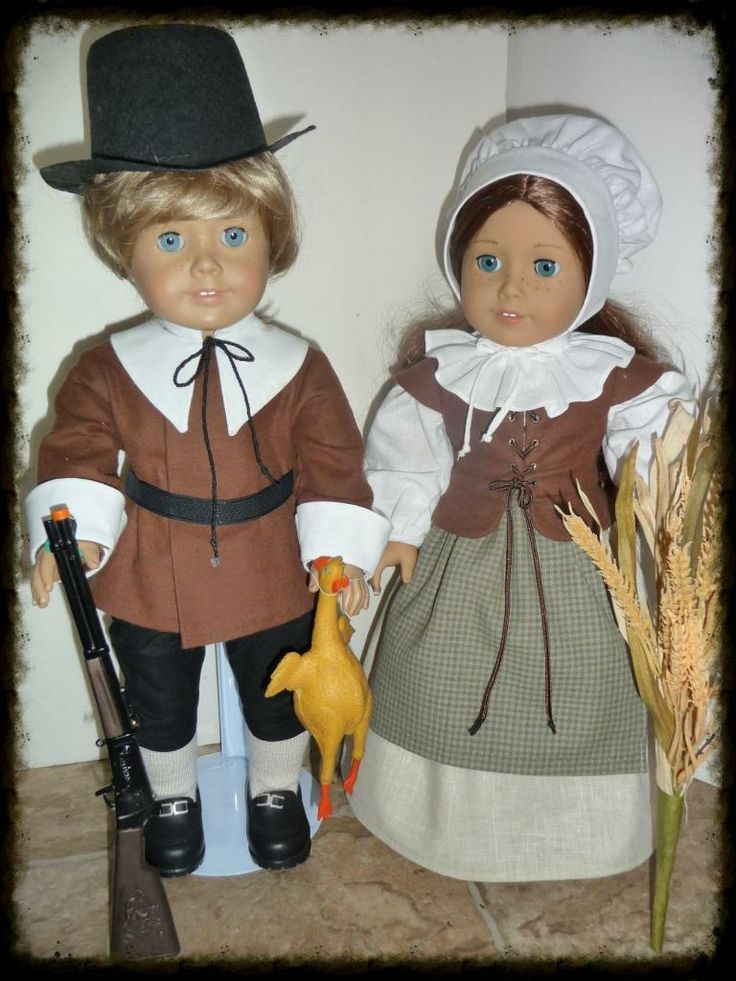 Happy Thanksgiving from my American Girl (and Boy) dolls.  Boy's Pilgrim outfit--purchased hat.  Coat pattern drafted by me, collar and cuffs using Fancy Frocks' pattern for Pilgrim Costume.  Breeches from Felicity's Riding Outfit.  Purchased rifle and rubber turkey!  Girl's Pilgrim Outfit--KeepersDollyDuds pattern--Pretty Pilgrim.  Handmade items sewed by me, Sewbig!