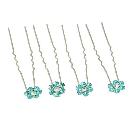 "Rosallini 4 Pcs Blue Rhinestone Flower Decor Hair Pin Clip for Lady by Rosallini. $3.32. Weight : 6g. Flower Decor Size : 1 x 0.2cm/ 0.4"" x 0.1""(D*T);Total Length : 6.2cm/. Pin Spacing : 0.9cm/ 0.4"";Color : Blue, Silver Tone. Product Name : Hair Pin;Material : Metal, Plastic. Package Content : 4 x Hairpin Clips. Rhinestone inlaid flower decor, 2 pins, this hair pin is for ladies. A wonderful ornament for you to match hair and change hair style, add you a charm look. Fit for daily..."