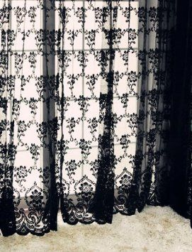 As an inner panel between the 2 Velvet curtains    Amazon.com: 2pcs 59x83 Inch Sexy Black Vintage French Lace Window Curtain Drape Valance Panel Veil: Home & Kitchen