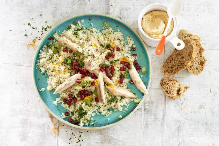 29 februari - Makreel + bloemkool + granaatappelpitjes in de bonus Albert Heijn = een #couscous zoals je 'm nog niet kent - Recept - Allerhande