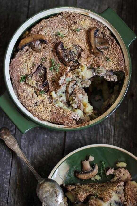 Tortino di patate, funghi e tofu alle noci