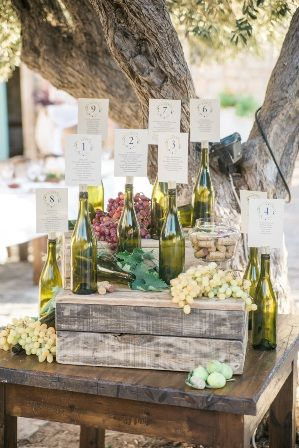 Unique table plan using green glass wine bottles. With fresh grapes, vine leaves & figs to add a charming rustic note. Moments www.weddingincrete.com