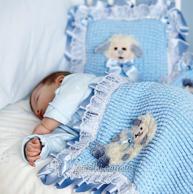 Детский плед и подушка из помпонной пряжи. Описание вязания