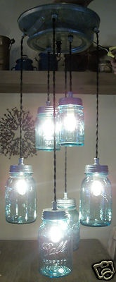 Primitive 6 Vintage BLUE Mason Jar Light w/Milk/Dairy Can Lid   Ebay ID:seabeeguy60