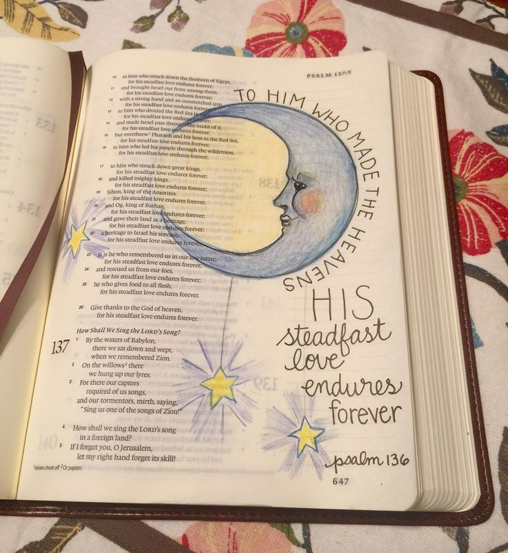 psalm 136 To Him who made the Heavens, His steadfast love endures forever (moon, stars)