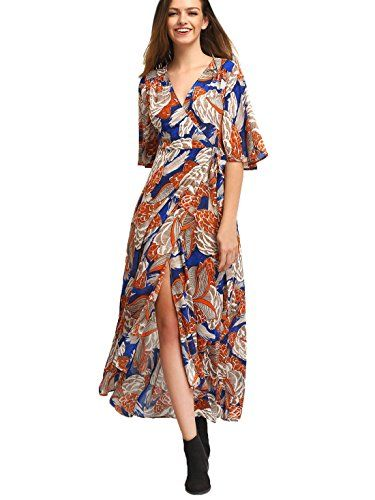 Milumia Womens Floral Print TieWaist Split Wrap Maxi Dress Orange M ** To view further for this item, visit the image link.