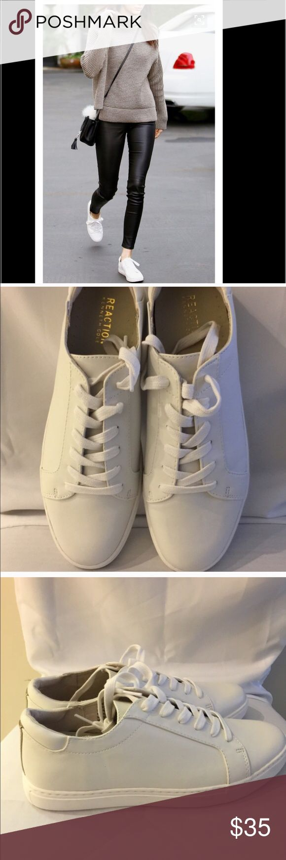 """New Leather white Sneakers Brand new leather white sneakers. All white shoe including the sole. Metallic gold strip on the back the shoe. Perfect sneaker to complete a minimalist look. White sneakers are on trend. Like Stan Smith look. Don't miss out on this great deal. 🎉Price Firm🎉  First pic is """"create the look"""" with these. Kenneth Cole Reaction Shoes Sneakers"""
