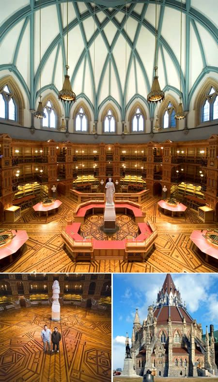 When the libraries were considered worthy of funding and respect: Library of Parliament, Ottawa, Canada