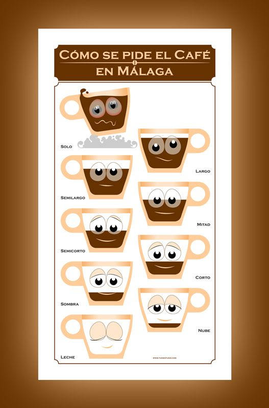 There are many ways to order a coffee at a cafe in Malaga, Spain: it has a different name depending on the proportion between coffee and milk. A funny lesson in gastronomic geography! Yours at http://www.redbubble.com/people/tudi/works/9557225-a-coffee-in-malaga-un-caf-en-m-laga