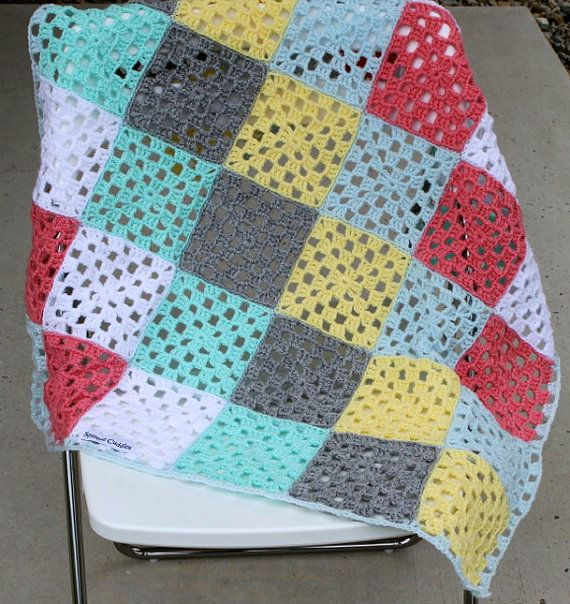 Baby blanket, crochet, granny square, patchwork, by SqueezeCuddles