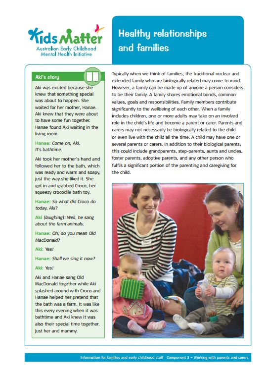 Partnerships with families...Top Tips: Healthy relationships and families. Information sheets for families…