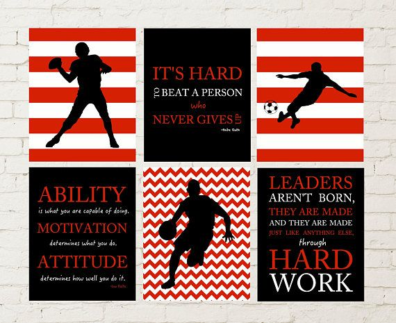 Boys room wall decor, boys wall art, soccer, baseball, football, kids room decoration, teen boy gift idea, boys inspirational art