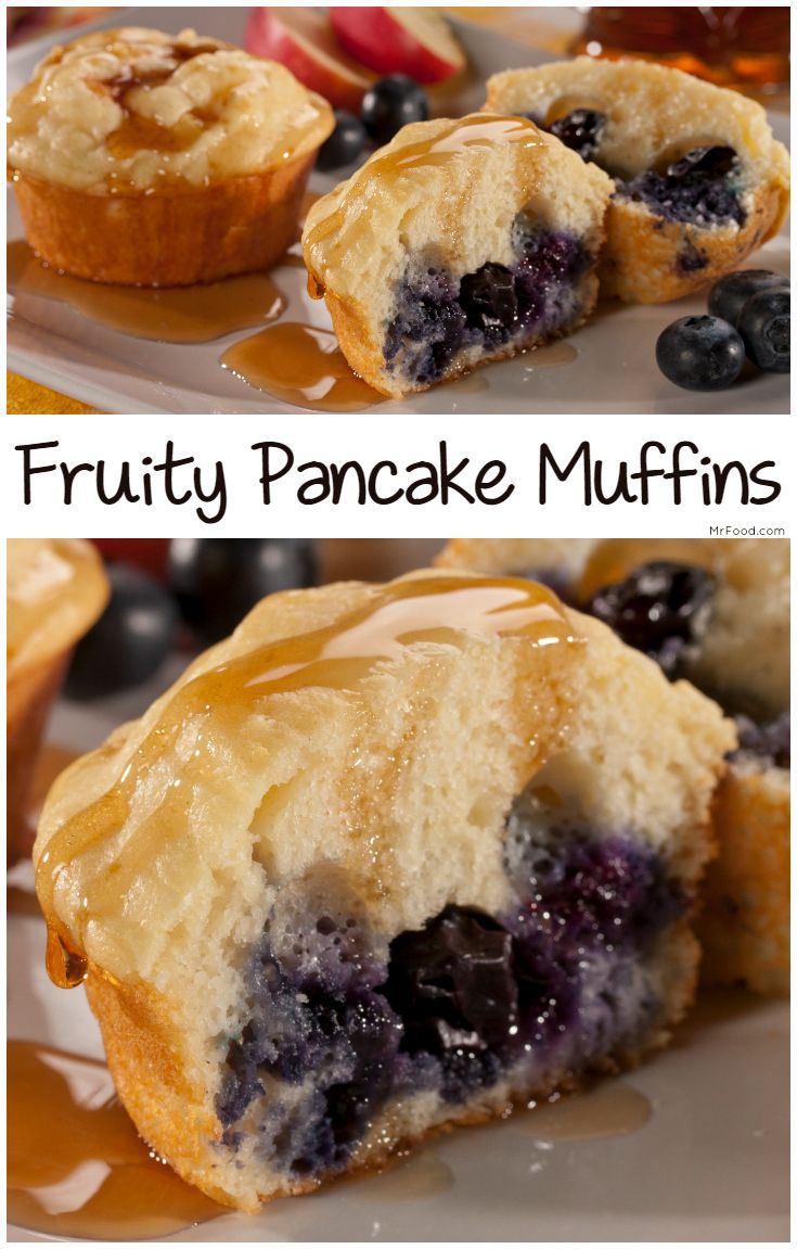 Take your pancakes on the go with our recipe for Fruity Pancake Muffins! These pancakes are made in a muffin tin and can be made sweet or savory.