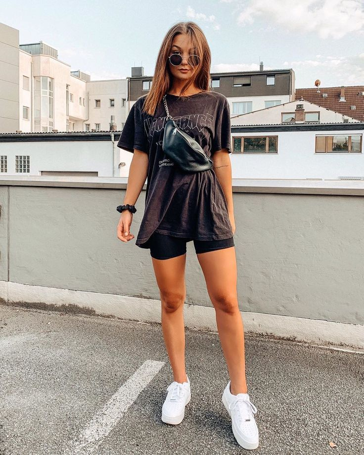 biker shorts outfit summer casual