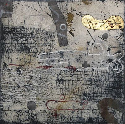 Walter Rast, Quelquefois Dans Un Jardin, 2008. Mixed media on canvas. 50cm H x 50cm W.