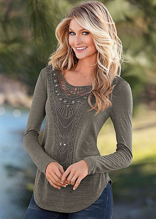Stud details and all the right amounts of crochet! Our crochet front top is available in sizes XS-XL and in black!
