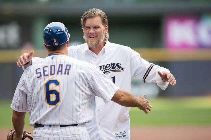 Corey Hart and 1st base coach Ed Sedar.