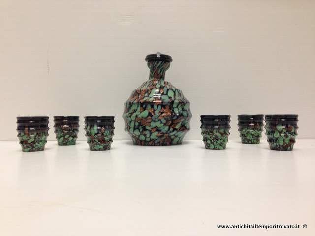 Oggettistica d`epoca - vetri - Bottiglia da rosolio d`epoca con avventurina Antica bottiglia in pasta vitrea e avventurina - Immagine n°1