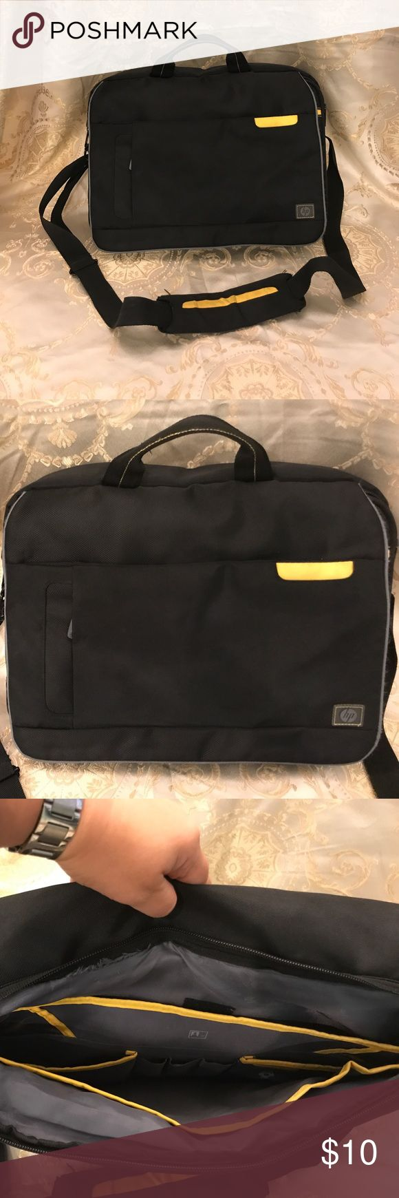 HP computer bag, black canvas Black canvas with yellow detail. Has many pockets. See closeup pics for small stains hp Bags Laptop Bags