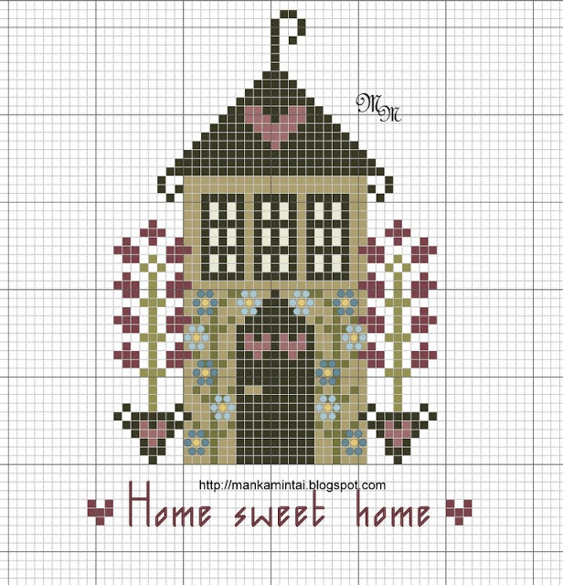 free cross stitch house freebie. This looks like a nice quick project.