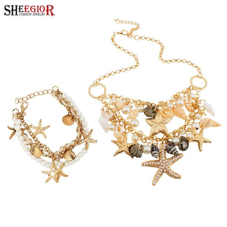 Стромбида морская звезда имитация жемчужное ожерелье браслет и браслеты ювелирных изделий чешские летние женщины заявление ожерелье бижутериикупить в магазине 1314 Jewelry Supermarket (Min order $10, Mix order)наAliExpress