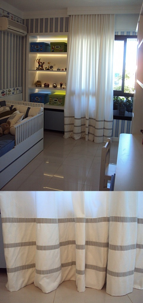 Cortina confeccionada em brim com aplicação de tecido na barra: iluminação interior perfeita.