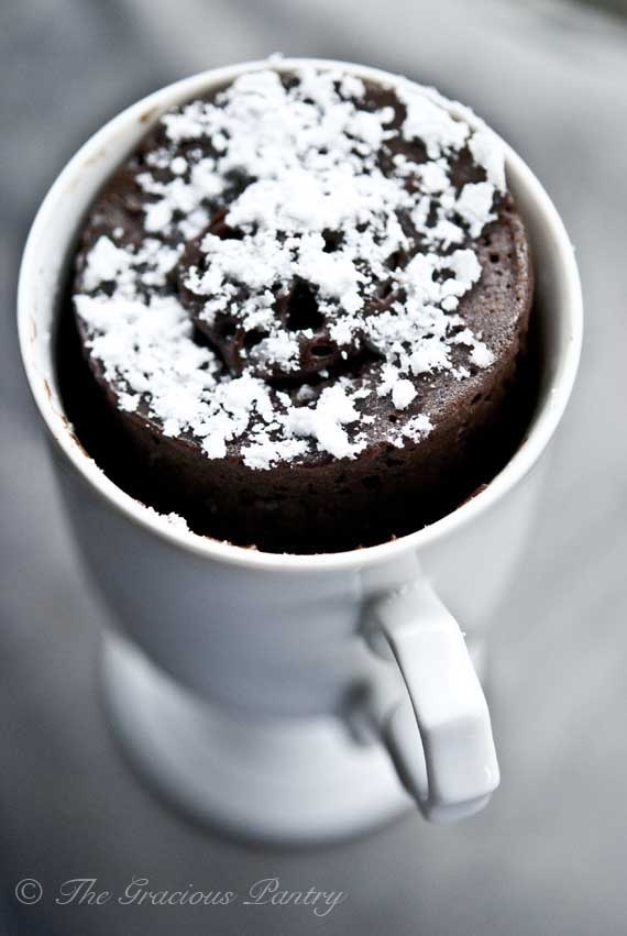 Clean Eating Chocolate Mug Cake www.TheGraciousPantry.com