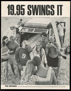 Poloroid Swinger ad | Details about 1967 surfing surfboard surfer woodie wagon beach photo ...